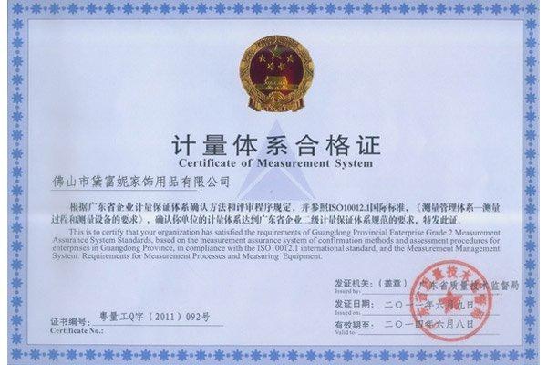 Certificato di Sistema di misurazione