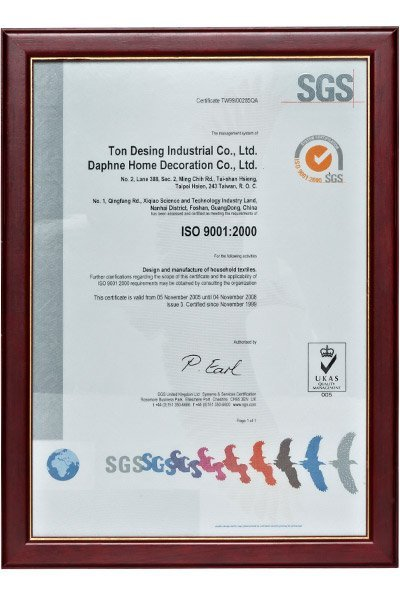 IS09001: 2000 Certificate