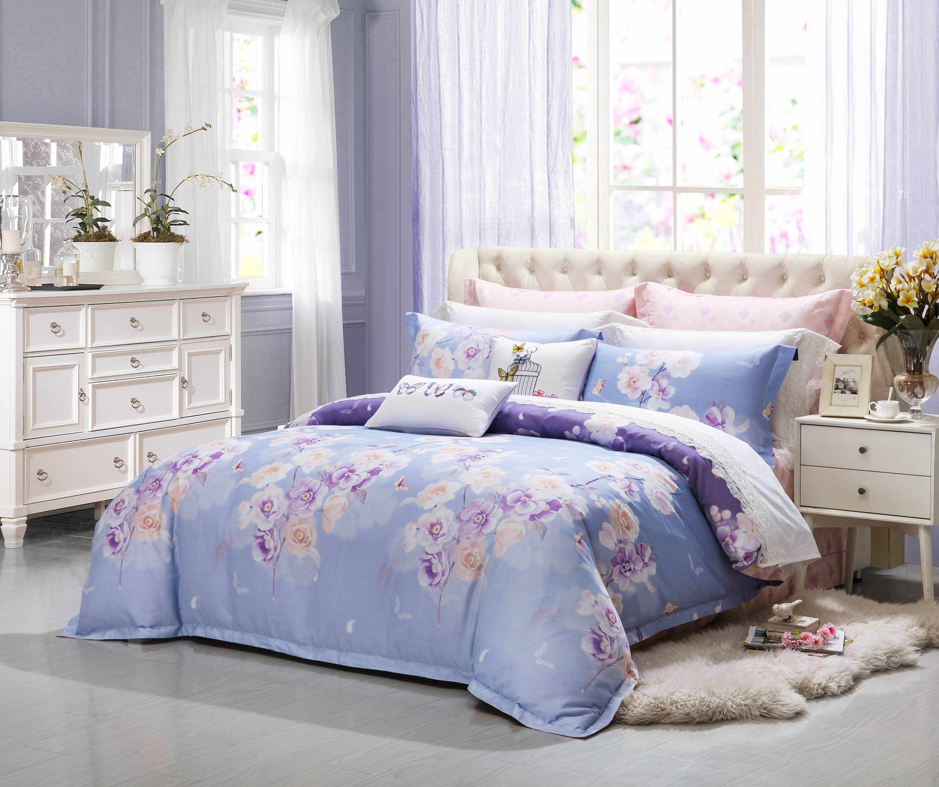 Floral Printed Brushed Cotton Bedding Set #6882