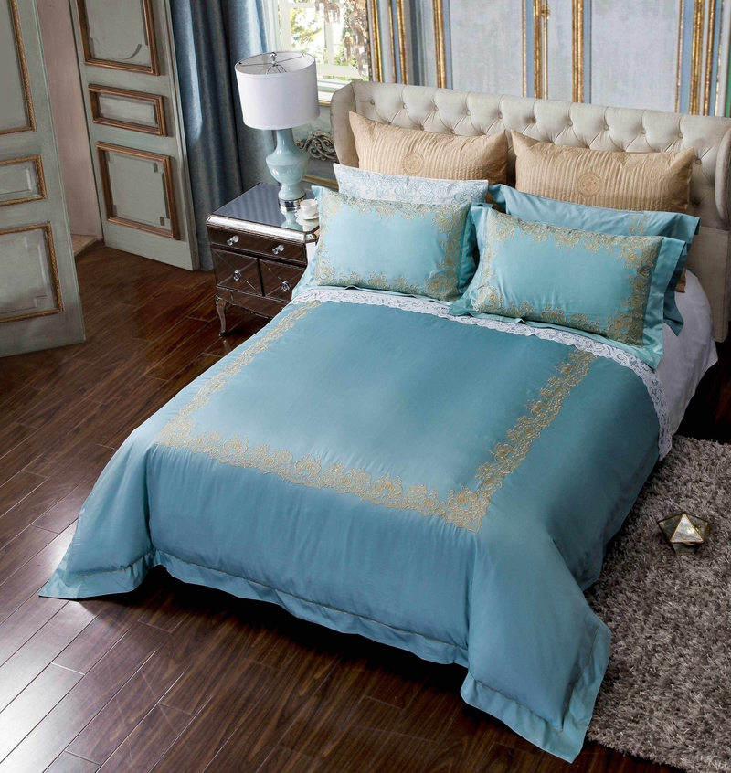Turquoise Long-staple Cotton Bedding Set 6892