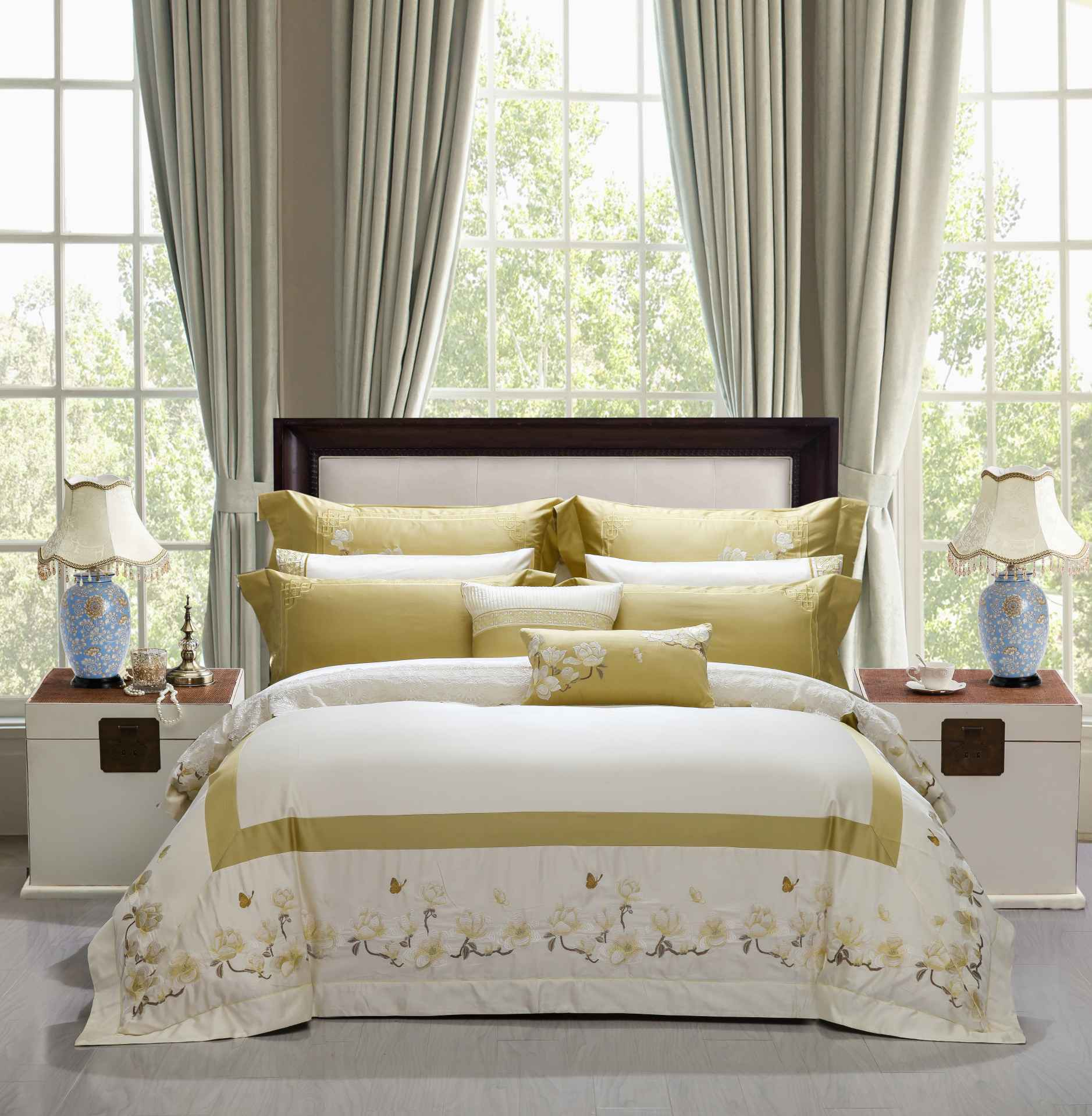 Magnolia Embroidery Cotton Bedding 6889