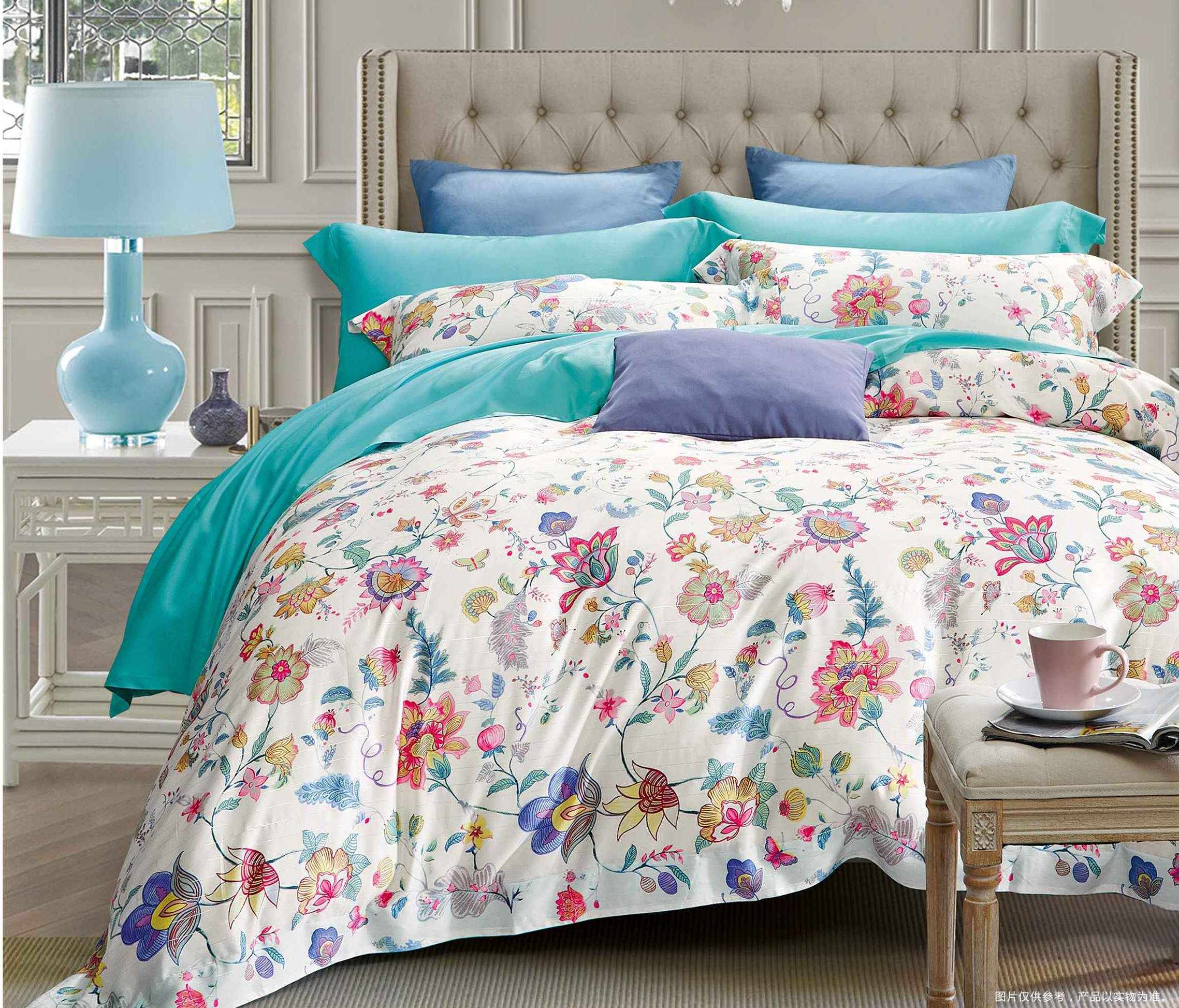 Graphic Floral Prints Lyocell Bedding Set Stylish