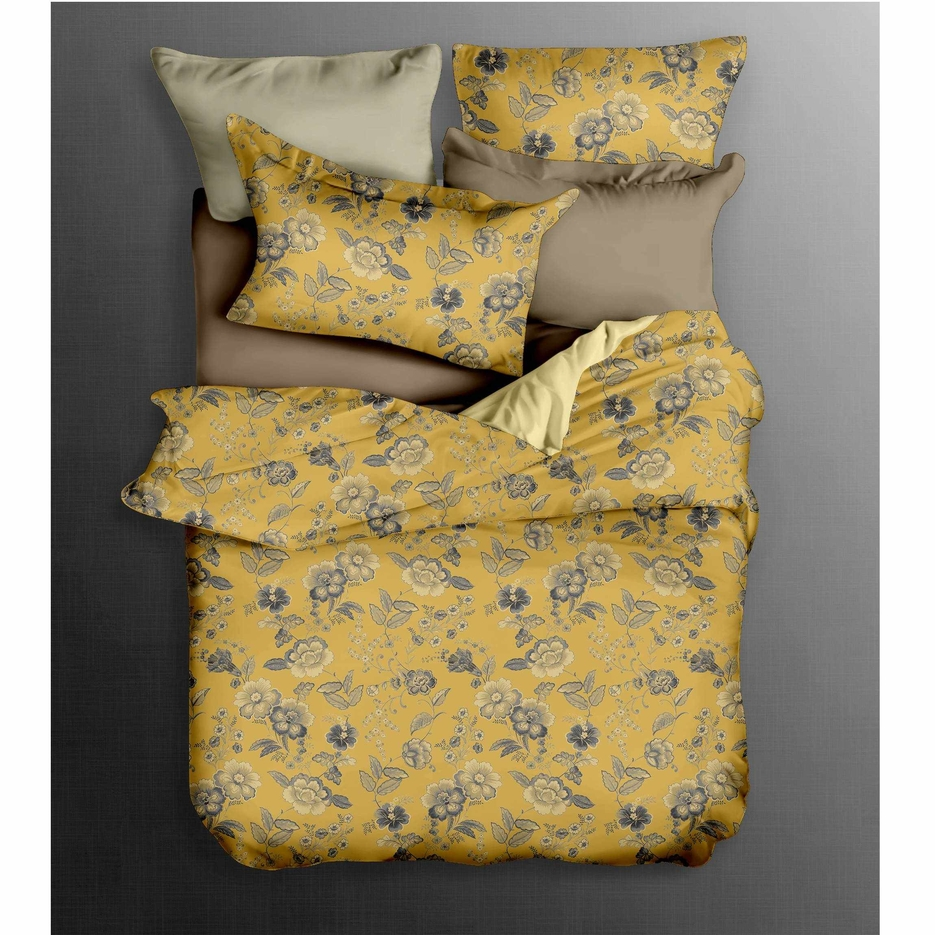 Fashionable Floral Bed Linen Yellow/Grey