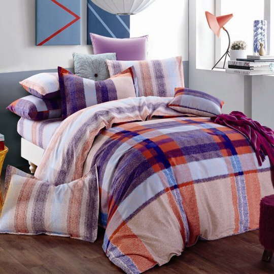 Herringbone Plaid Brushed Cotton Bed Sheet Set#M988