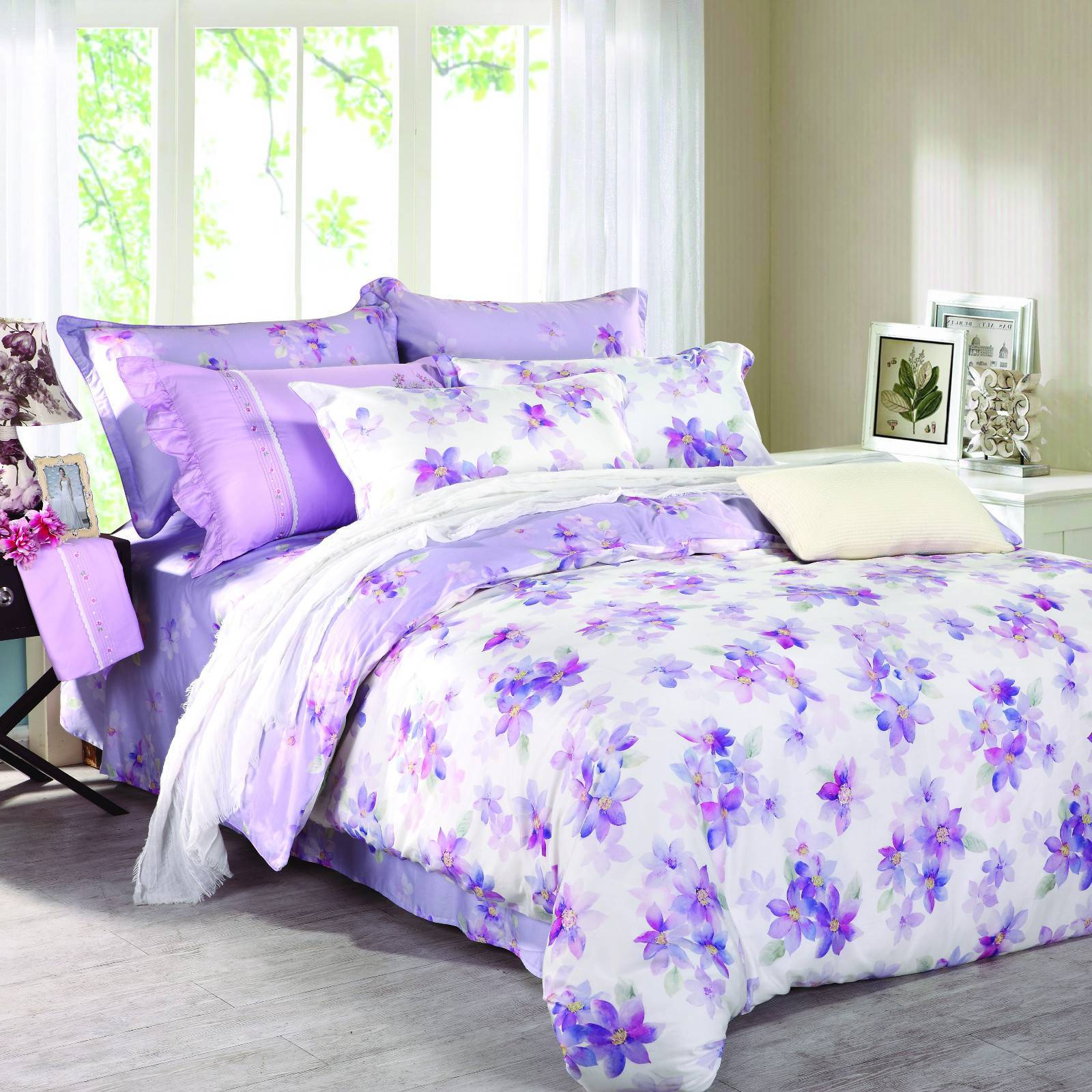Daphne Purple Floral Printed Cotton Duvet Cover Set  6826