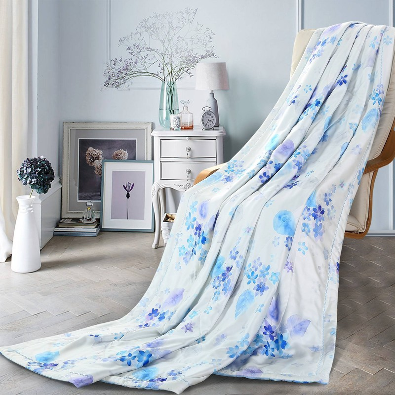 Floral Printed Quilt Lyocell 100% Polyester Padding DFW542