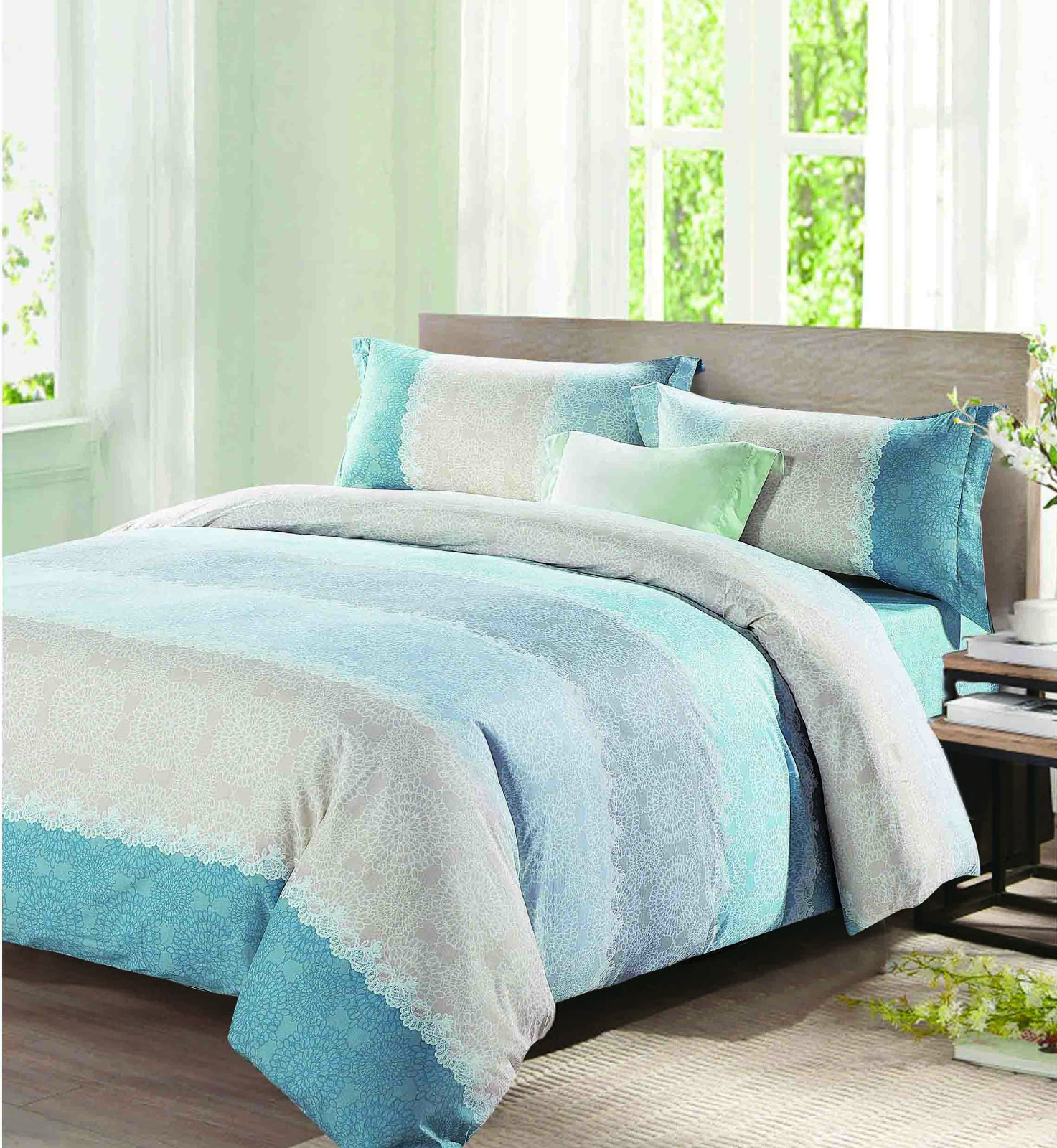 Custom embroidery Cotton Bedding Sets printed 100 cotton bedding sets