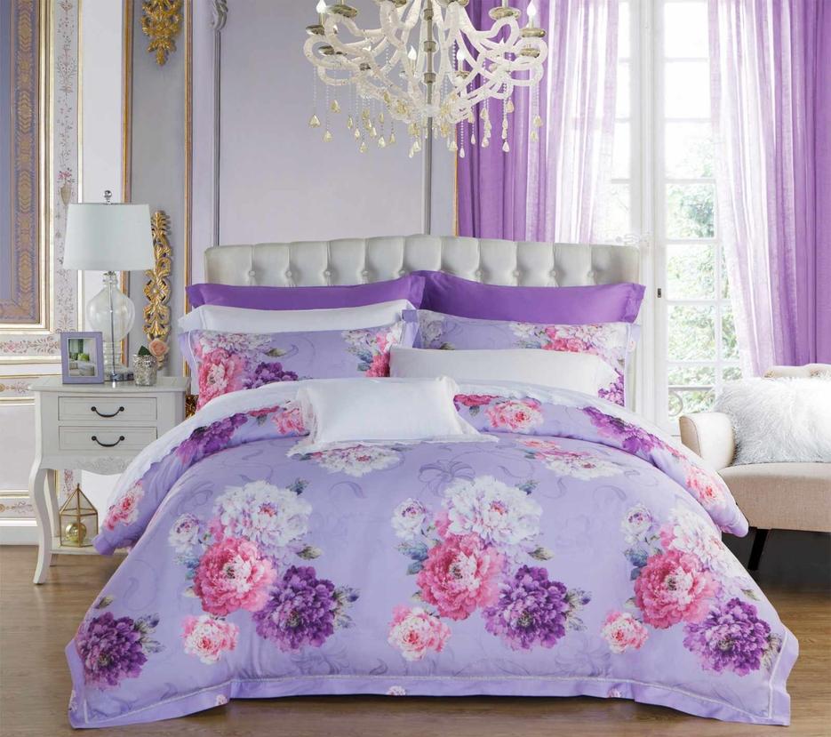 Lyocell and Rayon Peony Patterns Bedding Set   #6833