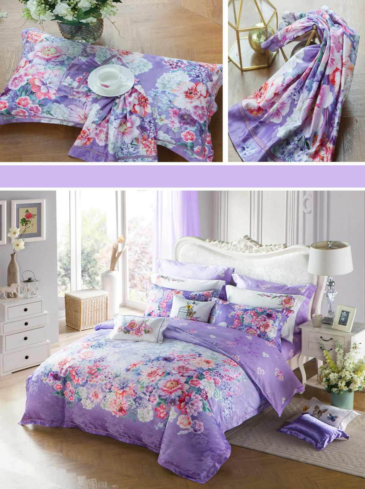Custom rayon Jacquard Bedding Set flat jacquard duvet cover king