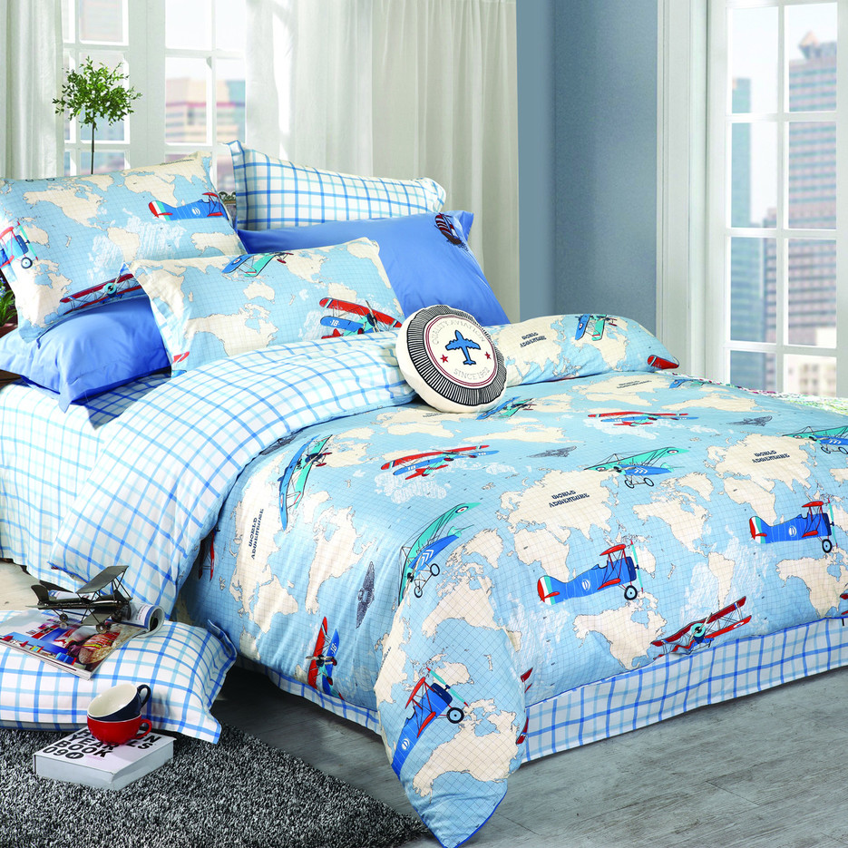 World Adventure Theme Kids Printed Cotton Bed   #6817