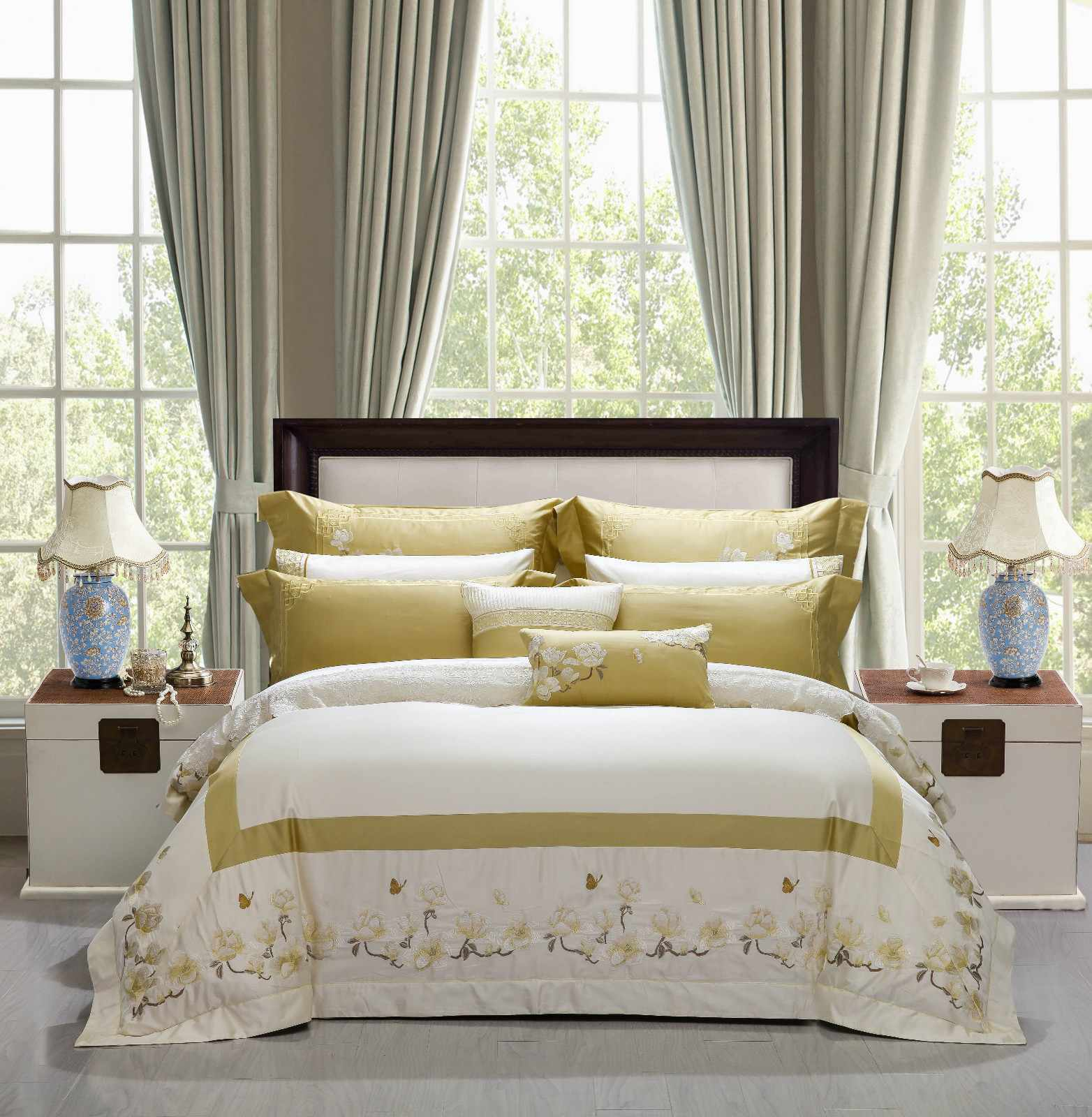 Daphne 100 cotton bedding sets brushed longstaple magnolia high