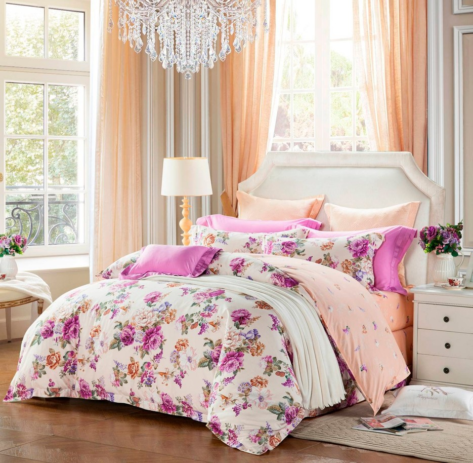 Sophisticated Floral Cotton Printed Bedding  6853