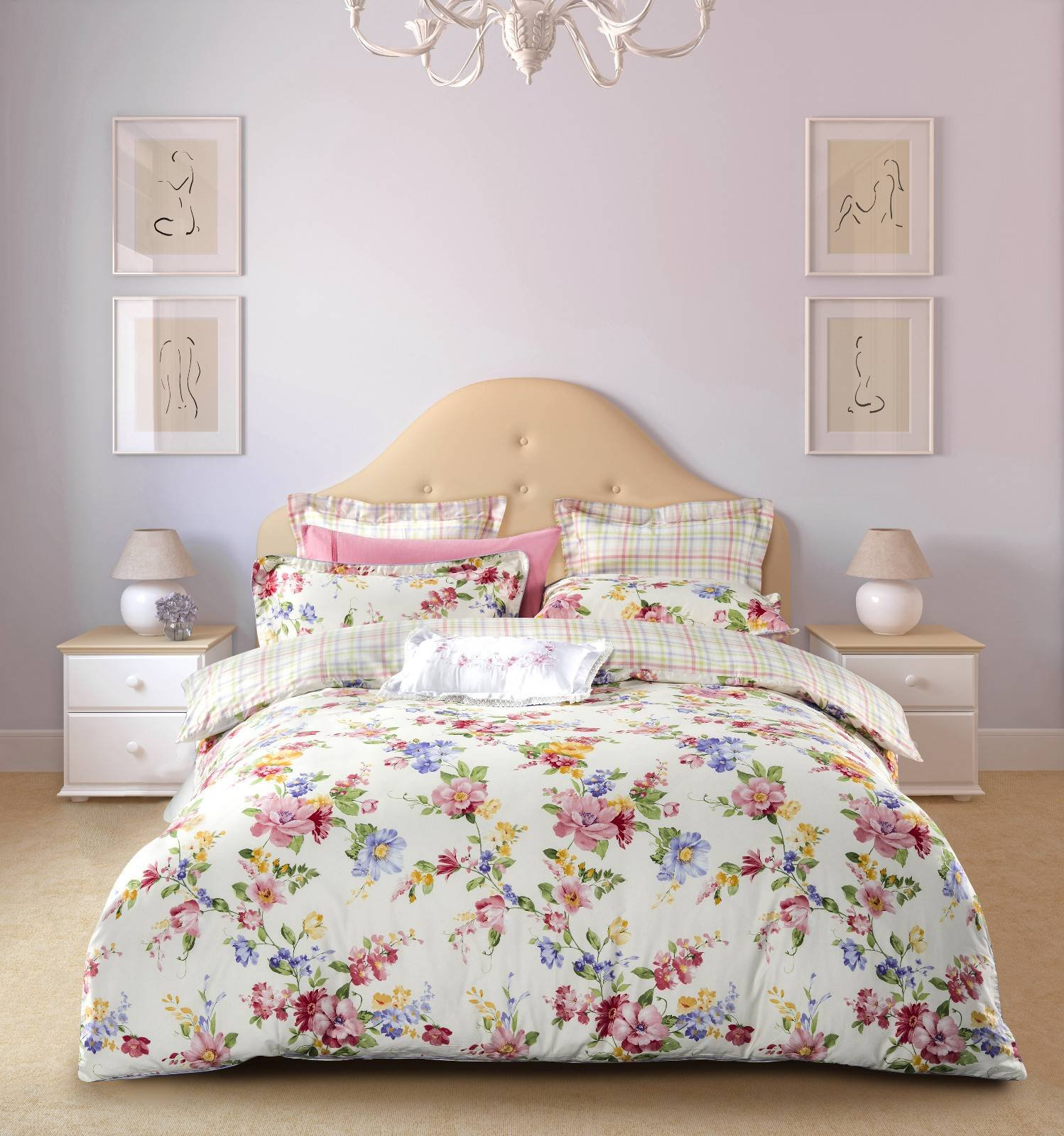 Patterned Cotton Floral Printing Bedroom Set  6786