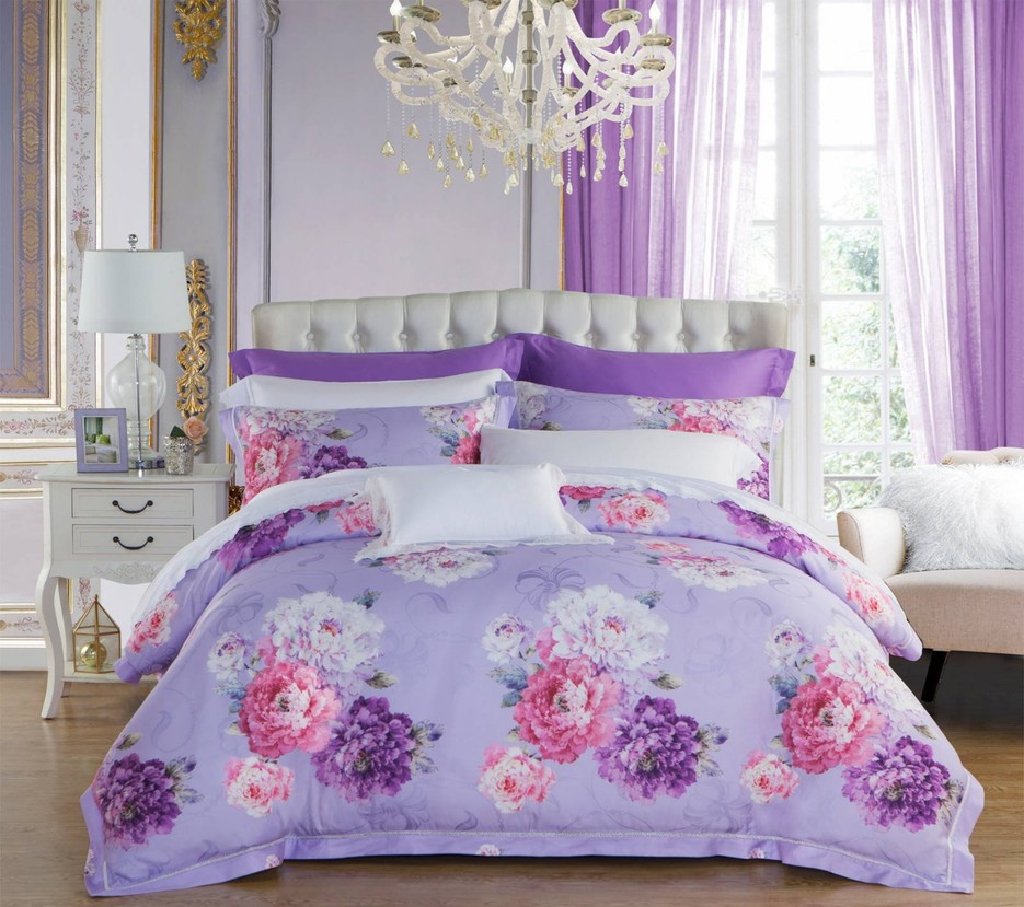 Lyocell and Rayon Peony Patterns Bedding Set   #6833