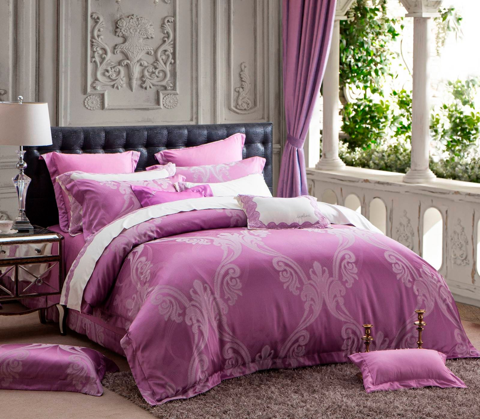 Jacquard Polyester and Cotton Simple Duvet Cover Set 6850