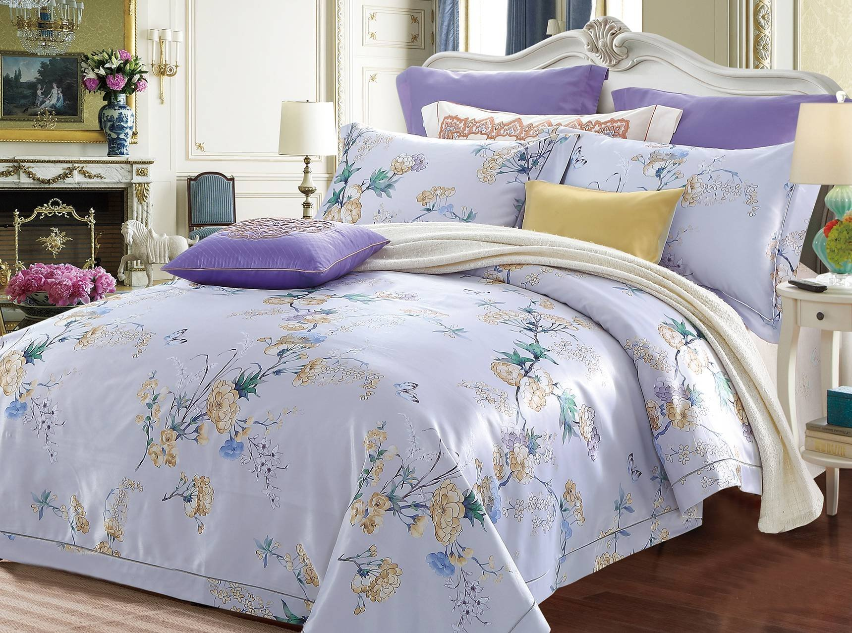 Floral Pattern Polyester Rayon Jacquard Bedding   6848
