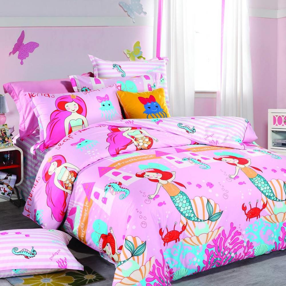 Pink Mermaid Cotton Bed Linen 200 Thread Count 6823