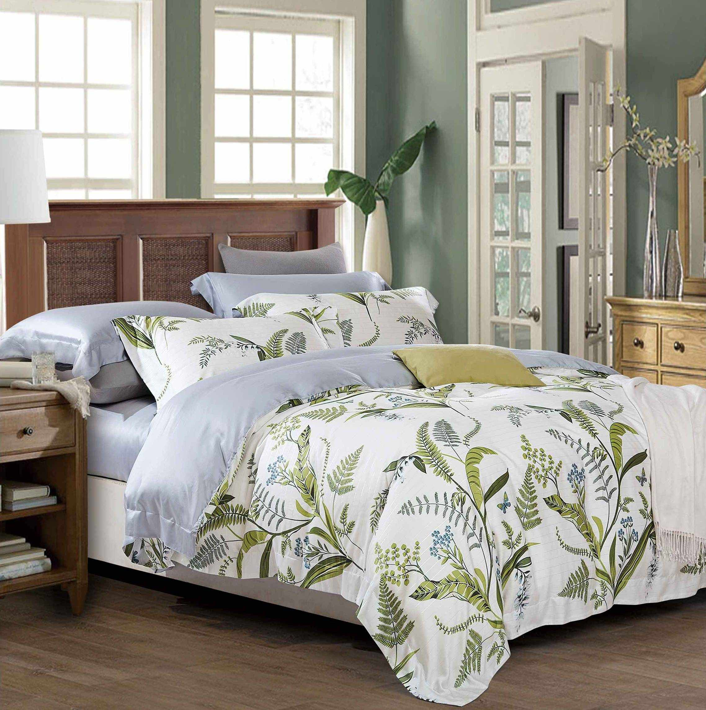 High Quality Lyocell Green Leaves Bedding Set