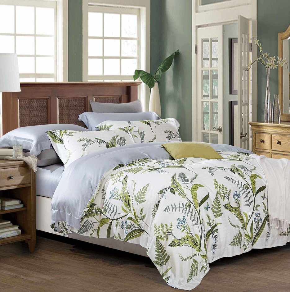 High Density Cotton Green Leaves Bedding Set