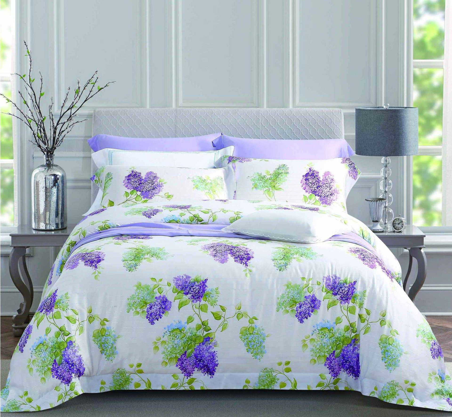 Wisteria Patterns Lyocell & Filamentary Silver Blend Bed Linen 171256
