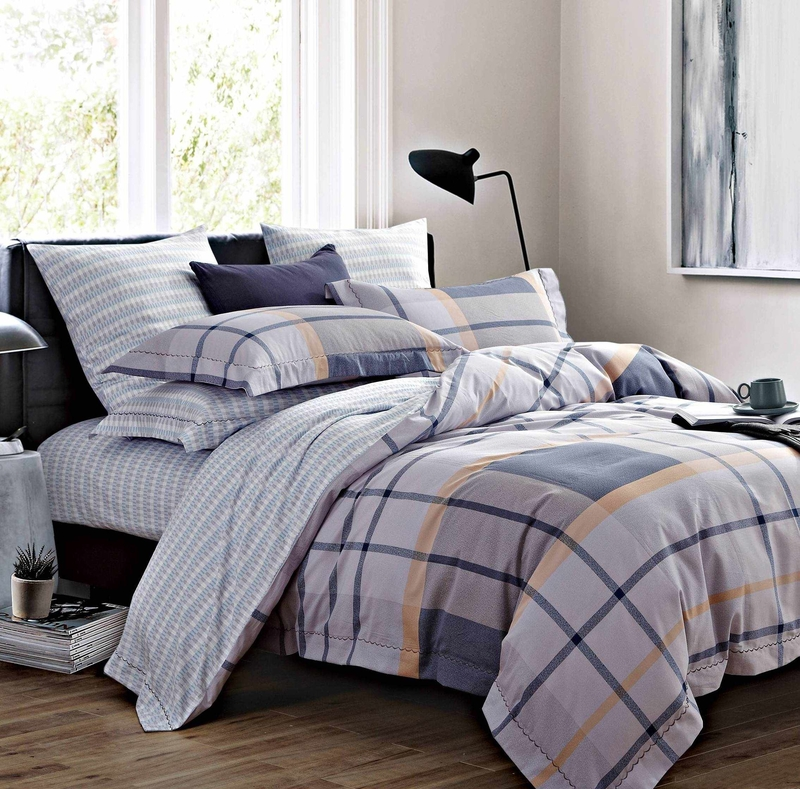 Long-staple Cotton Bedding Set Plaid Patterns 171408