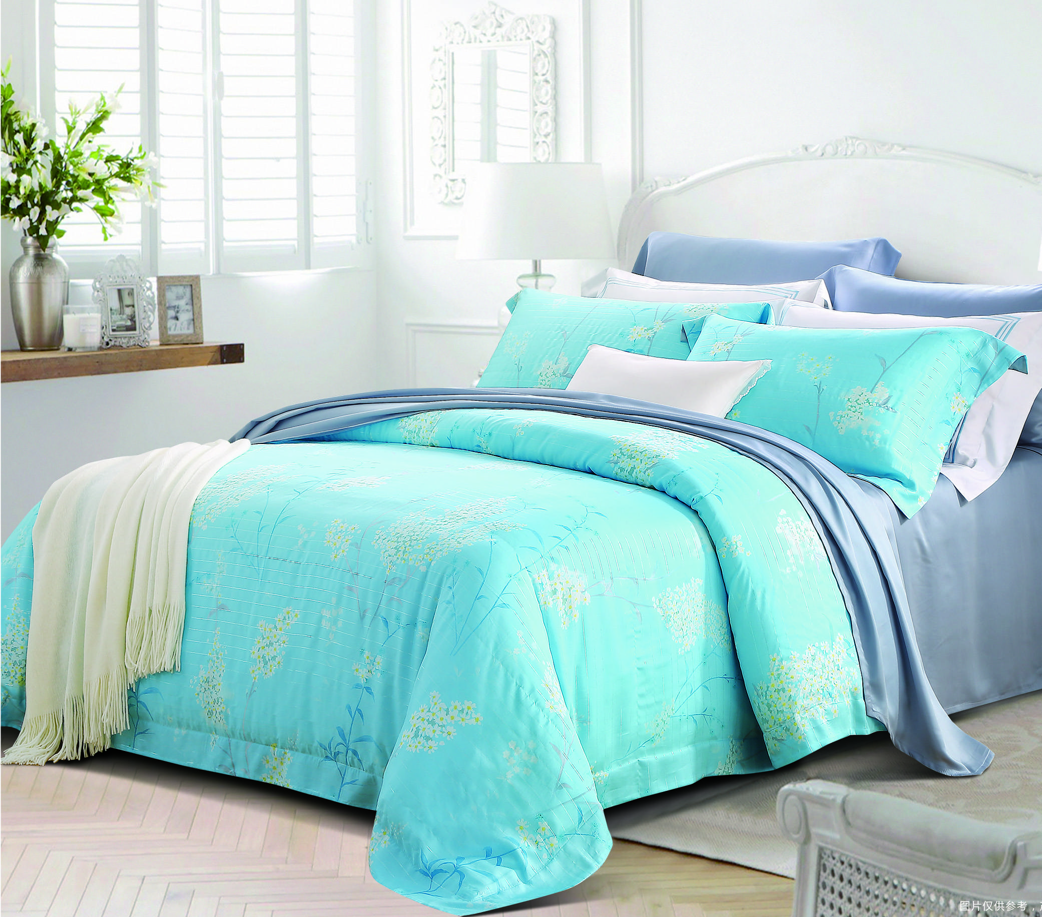 Daphne White Flowers Lyocell Filamentary Silver Blend Bedding Other Material Printed image8