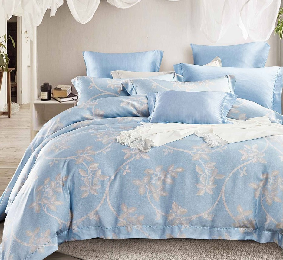 China Sky Blue Pattern Bedding Set Made of Lyocell 170711