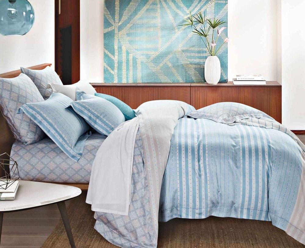 Comfortable Lyocell Stripes Sheet Set Duvet Cover Set 171023