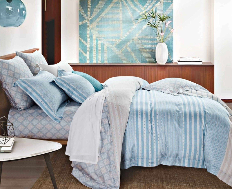 Comfortable Lyocell Stripes Sheet Set Duvet Cover Set 171023