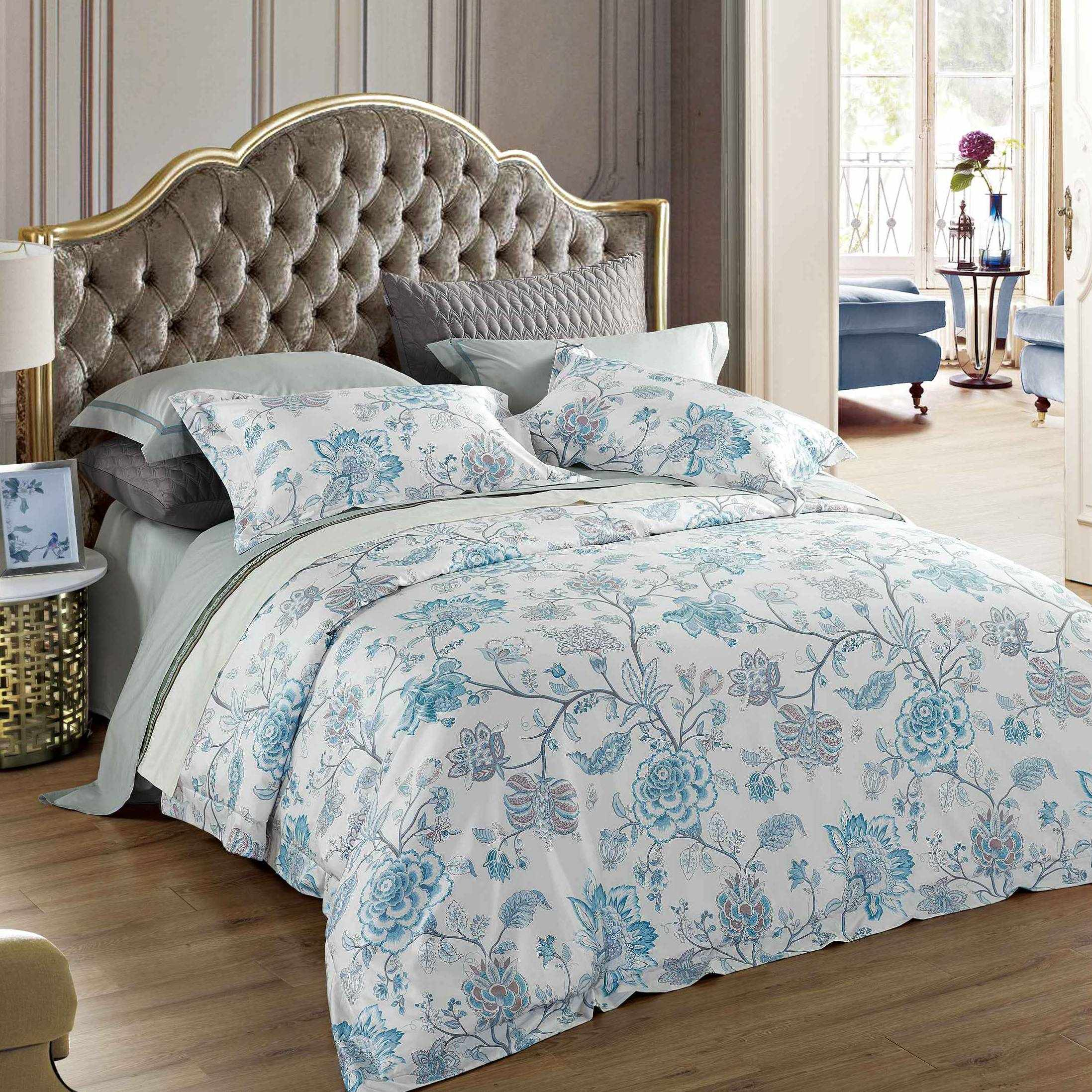 Blue Floral Pattern Printed Cotton Bedding Set 171152