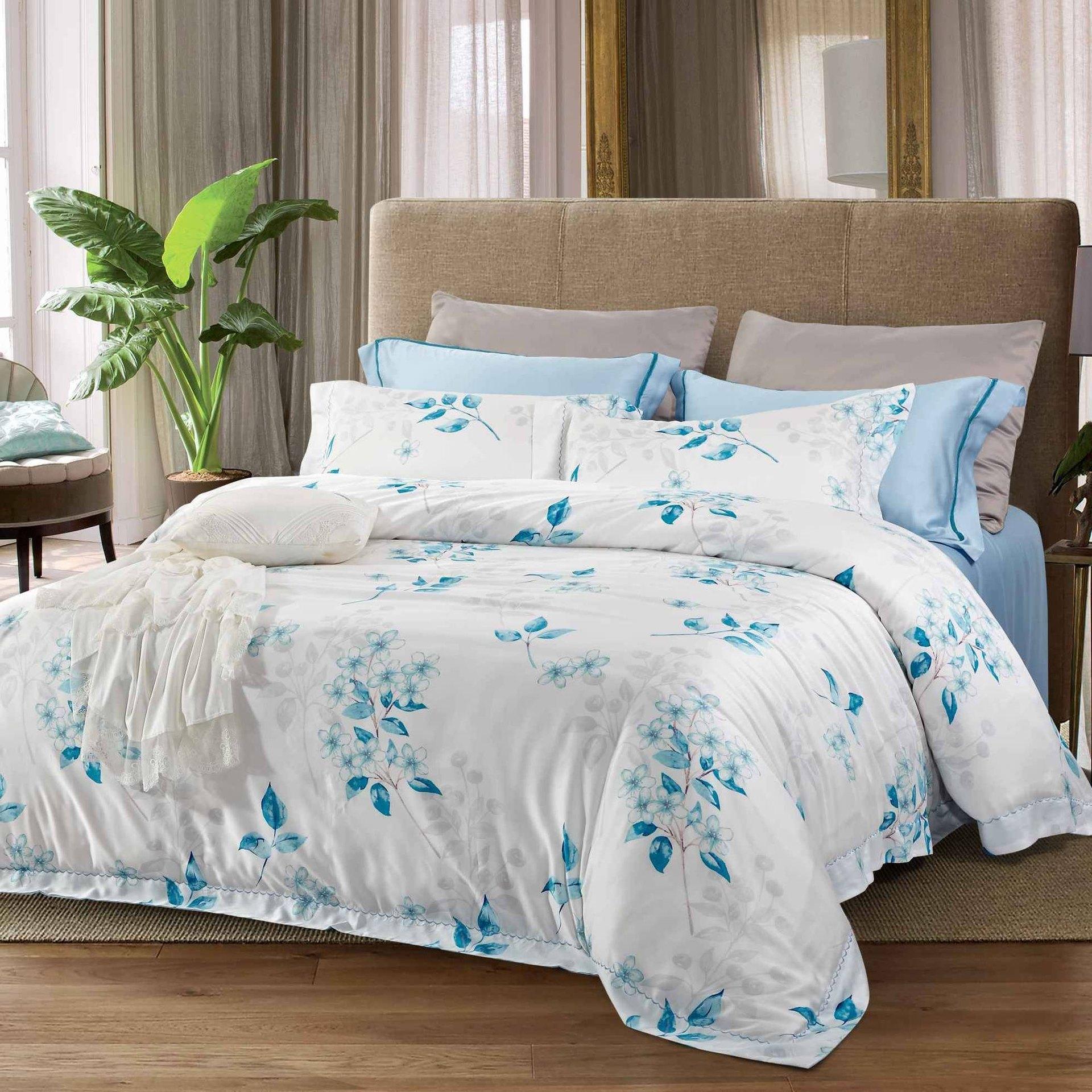 Fresh Plant Motif Sky Blue Bedding Set 171076
