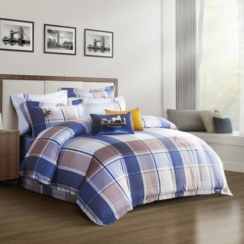 Classic Plaid Printing Duvet Cover Set  Long-staple Cotton 6825