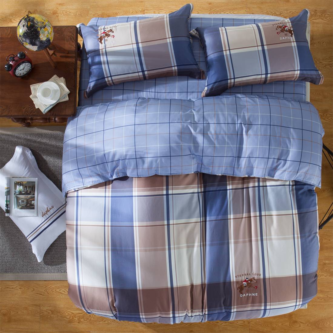 Classic Plaid Printing Duvet Cover Set  Long-staple Cotton 6825