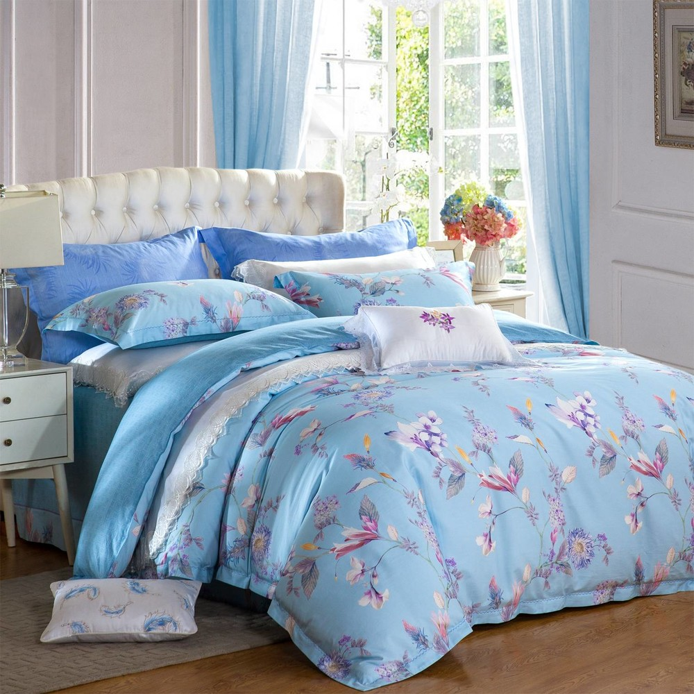 Bedroom Long-staple Cotton Printed Bedding Set  with Beautiful Flowers 6837